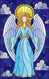 Stained glass illustration with girl angel in blue dress on background of starry sky and clouds. Illustration in stained glass style with girl angel in blue royalty free illustration