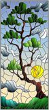 Stained glass illustration  with green tree on sky background and sun Royalty Free Stock Photos