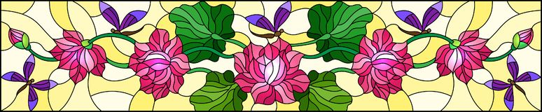Stained glass illustration with Lotus leaves and flowers, pink flowers and purple dragonflies on yellow background,horizontal im. Illustration in stained glass stock illustration