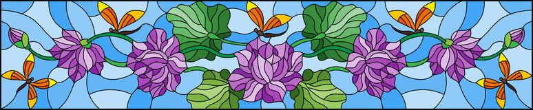 Stained glass illustration with Lotus leaves and flowers, purple flowers and orange dragonflies on sky background,horizontal imag. Illustration in stained glass Vector Illustration