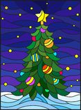 Stained glass illustration  for the new year, decorated Christmas tree with decorations on a background of snow and starry sky Royalty Free Stock Photography
