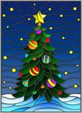 Stained glass illustration for the new year, decorated Christmas tree with decorations on a background of snow and starry sky Stock Image