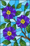 Stained glass illustration  painting with a branch of flowering plants on a blue background, purple  flowers, buds and leaves agai. The illustration in stained Royalty Free Stock Image