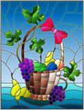 Stained glass illustration with a still life, fruit basket,  and fruits on a blue background. The illustration in stained glass style painting with a still life Royalty Free Stock Images