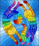 Stained glass illustration  with a pair of abstract geometric rainbow cats on a blue background. Illustration in stained glass style with a pair of abstract Stock Photography