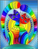 Stained glass illustration  with a pair of abstract geometric rainbow cats on a blue background with sun. Illustration in stained glass style with a pair of Stock Images