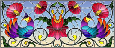 Stained glass illustration with a pair of abstract purple birds , flowers and patterns on a blue background , horizontal image. Illustration in stained glass royalty free illustration