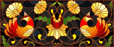 Stained glass illustration with a pair of birds , flowers and patterns on a dark background , horizontal image,the imitation of p. Illustration in stained glass vector illustration