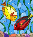 Stained glass illustration  with a pair of fish surgeon on the background of water and algae. Illustration in stained glass style with a pair of fish surgeon on Royalty Free Stock Photo