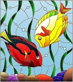 Stained glass illustration with a pair of fish surgeon on the background of water and algae. Illustration in stained glass style with a pair of fish surgeon on Stock Images