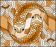 Stained glass illustration  with a pair of gold fish on water wavy background,Sepia,tone, brown. Illustration in stained glass style with a pair of gold fish on Stock Photos