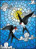 Stained glass illustration  a pair of swallows on the background of sky, sun and clouds Royalty Free Stock Photos