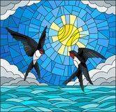 Stained glass illustration  with  pair of swallows  on the background of sky, sun , clouds and water Royalty Free Stock Photography