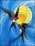 Stained glass illustration  a pair of swallows on the background of sky and  sun. Illustration in stained glass style a pair of swallows on the background of sky Royalty Free Stock Photos