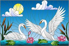 Stained glass illustration with pair of Swans , Lotus flowers and reeds on a pond in the sun, sky and clouds Stock Photo
