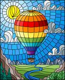 Stained glass illustration with a rainbow hot air balloon flying over a plain with a river on a background of mountains, cloudy sk Royalty Free Stock Photos