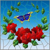 Stained glass illustration  with red flowers and leaves of  rose, and blue butterfly ,square picture. Illustration in stained glass style with red flowers and Royalty Free Stock Images
