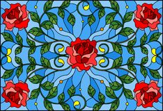 Stained glass illustration with red rose branches on blue background, rectangular image. Illustration in stained glass style with red rose branches on blue royalty free illustration