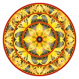 Stained glass illustration , round mirror image with floral ornaments and swirls Stock Photos