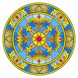 Stained glass illustration , round mirror image with floral ornaments and swirls Stock Photography