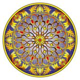 Stained glass illustration , round mirror image with floral ornaments and swirls on dark background Stock Photos