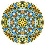 Stained glass illustration , round mirror image with floral ornaments and swirls Stock Image