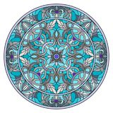 Stained glass illustration , round mirror image with floral ornaments and swirls Royalty Free Stock Photos