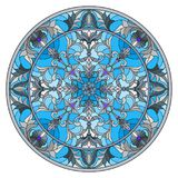 Stained glass illustration , round mirror image with floral ornaments and swirls Royalty Free Stock Photo