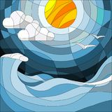 Illustration in stained glass style with sea landscape, sea, cloud, sky and sun. royalty free illustration