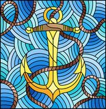Stained glass illustration with ship anchor and rope on the background of waves Royalty Free Stock Photo