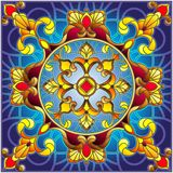 Stained glass illustration , square mirror image with floral ornaments and swirls,square image Stock Photography