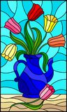 Stained glass illustration  with still life, blue jug with colorful tulips. Illustration in stained glass style with still life, blue jug with colorful tulips Stock Photography
