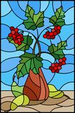 Stained glass illustration  with still life, Bouquet of branches of viburnum in ceramic vase and yellow pears on a blue background. Illustration in stained glass Stock Photo