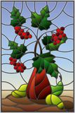 Stained glass illustration  with still life, Bouquet of branches of viburnum in ceramic vase and yellow pears on a blue background. Illustration in stained glass Royalty Free Stock Photos