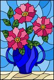Stained glass illustration  with still life, bouquet of pink flowers in a blue vase. Illustration in stained glass style with still life, bouquet of pink flowers Stock Photos