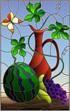 Stained glass illustration with still life, fruits, berries and pitcher on blue background. Illustration in stained glass style with still life, fruits, berries Stock Image