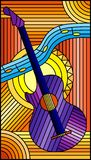 Stained glass illustration  on the theme of music, abstract purple guitar and notes on an orange background. Illustration in stained glass style on the theme of Stock Illustration