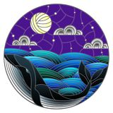 Stained glass illustration whale into the waves, starry sky,moon  and clouds, round image. Illustration in stained glass style whale into the waves, starry sky Stock Photos