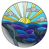 Stained glass illustration  whale into the waves, Sunny sky and clouds, round image. Illustration in stained glass style whale into the waves, Sunny sky and Royalty Free Stock Photo
