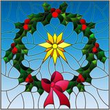 Stained glass illustration wreath of Holly and Christmas star on a blue background Stock Images