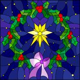Stained glass illustration with wreath of Holly and Christmas star on a blue starry sky background. Illustration in stained glass style wreath of Holly and royalty free illustration