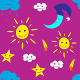 Illustration of star, sun, cloud, moon. Vector2 Royalty Free Stock Images