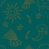 Illustration of star, sun, cloud, moon. Vector3 Stock Image