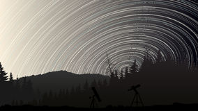 Illustration of stars trace circles on the sky over the forest. Royalty Free Stock Images