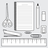 Illustration of stationery set, office supplies Royalty Free Stock Photography
