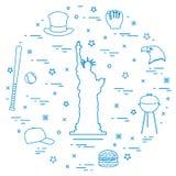 Illustration of statue of Liberty, eagle head, stars, hamburger,. Bat and ball for baseball, barbecue, baseball cap, hat arranged in a circle. Symbols of USA stock illustration
