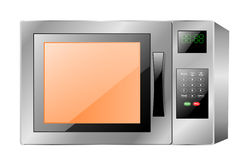 Microwave Oven. An illustration of a steel grey microwave cooking oven with its light on Royalty Free Stock Images