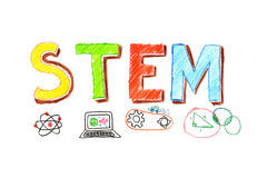 Illustration of STEM word banner royalty free illustration