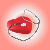 Illustration of stethoscope and heart Stock Photo
