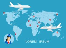 Illustration of a stewardess in blue uniform against the background of the world map.Travel concept.  Royalty Free Stock Photos